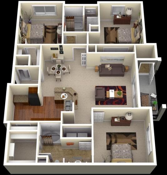 Plano de departamento grande de tres habitaciones y sala amplia