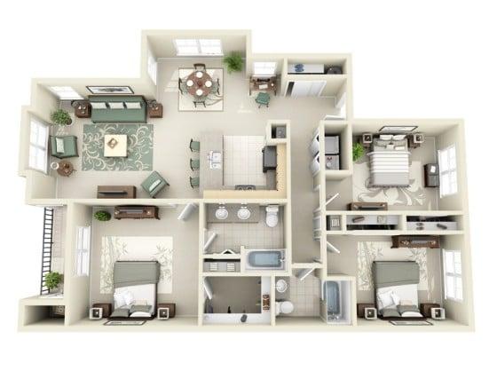 Plano de departamento de tres habitaciones con sala comedor y cocina