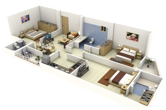 Plano de departamento de tres habitaciones en terreno largo y angosto