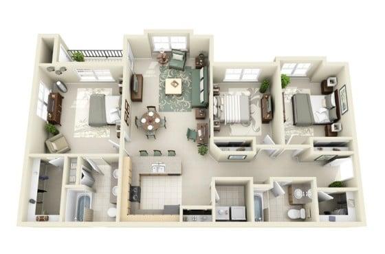Plano de departamento grande de tres habitaciones