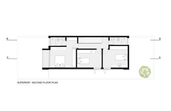 Plano de segundo piso casa en terreno pequeño