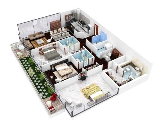 Planos de apartamento de 3 habitaciones dos balcón
