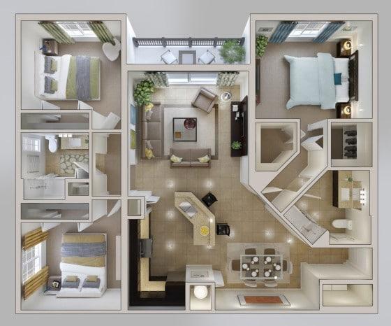 Planos de apartamento de 3 habitaciones cuadrado