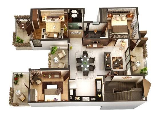 Planos de apartamento de forma cuadrada de tres habitaciones