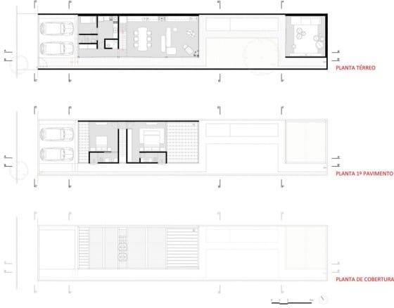 Planos de casa angosta y larga