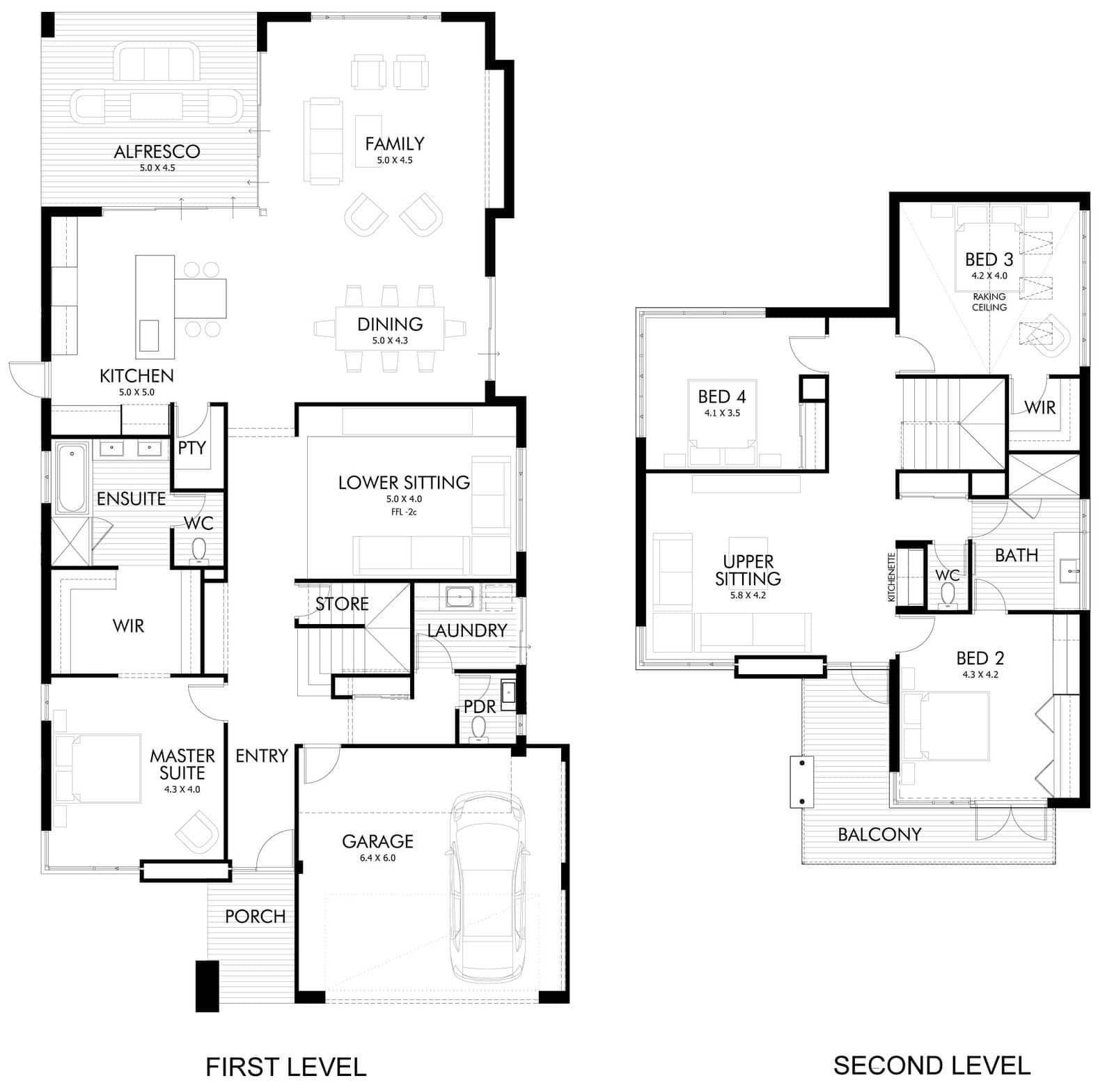 Dise o de casa moderna de dos pisos fachada e interiores for Planos de casas de 2 plantas