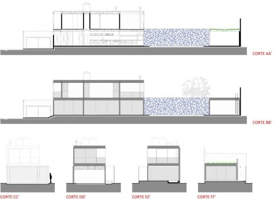 Dise o de casa larga y angosta con planos y fachada for Planos de casas 6x20