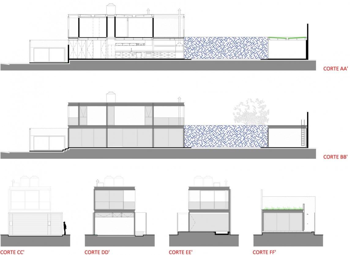 Dise o de casa larga y angosta con planos y fachada for Creador de planos sencillos para viviendas y locales