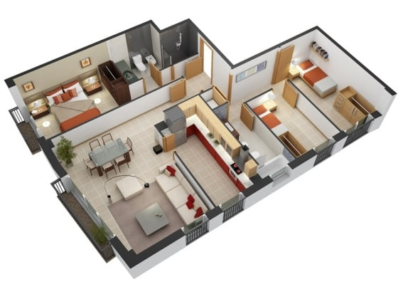 Planos de departamento de 3 habitaciones bien distribuido
