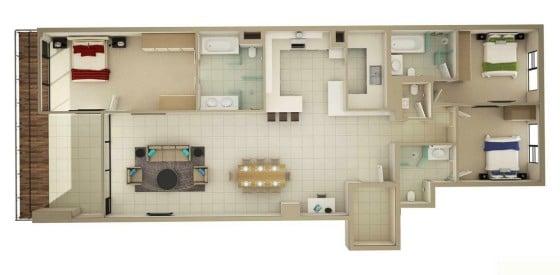 Planos de departamento alargado de tres habitaciones
