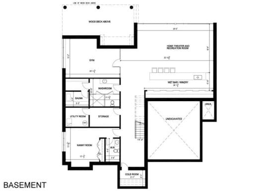 Planos de sótano de casa de dos pisos