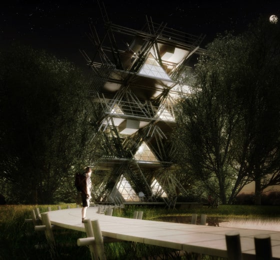Proyecto de casas de bambú iluminadas por la noche