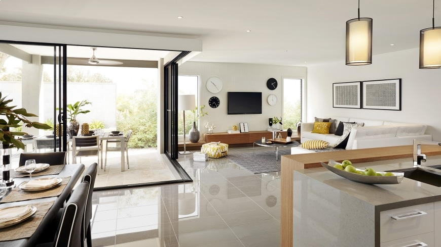 Casa de un piso moderna dos fachadas y dise o interior for Diseno de salon comedor