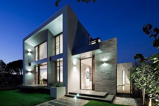 Dise o de casa moderna en esquina fachada e interiores for Disenos minimalistas frentes casas