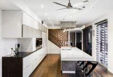 Photo of Detalles de diseño de una moderna cocina, figuras y texturas en la decoración