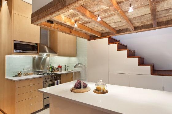 Diseño de cocina rústica de departamento pequeño