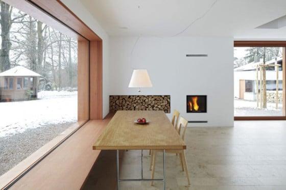 Diseño de comedor de casa de madera