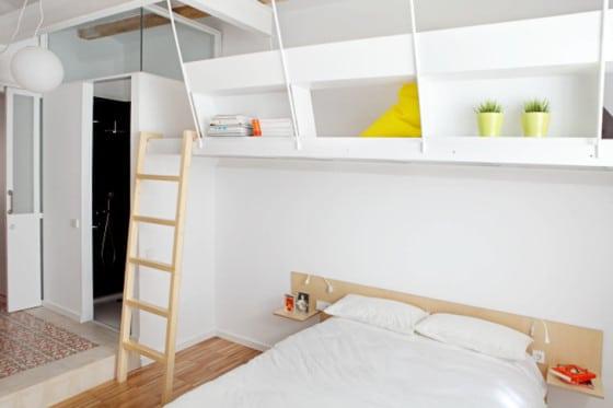 Diseño de dormitorio con cama camarote