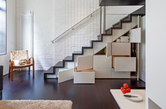 Diseño de escaleras modernas con cajones