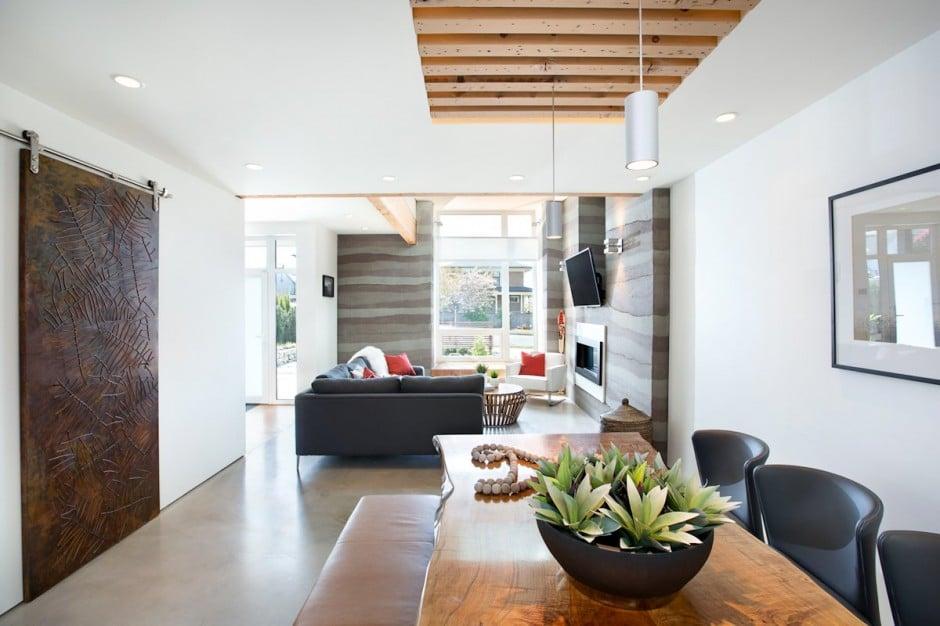 Fachada de casa moderna de dos pisos y dise o de for Diseno de interiores comedor