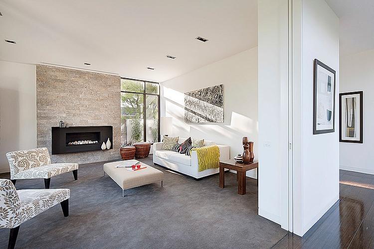 Dise o de casa moderna en esquina fachada e interiores for Chimeneas en apartamentos pequenos