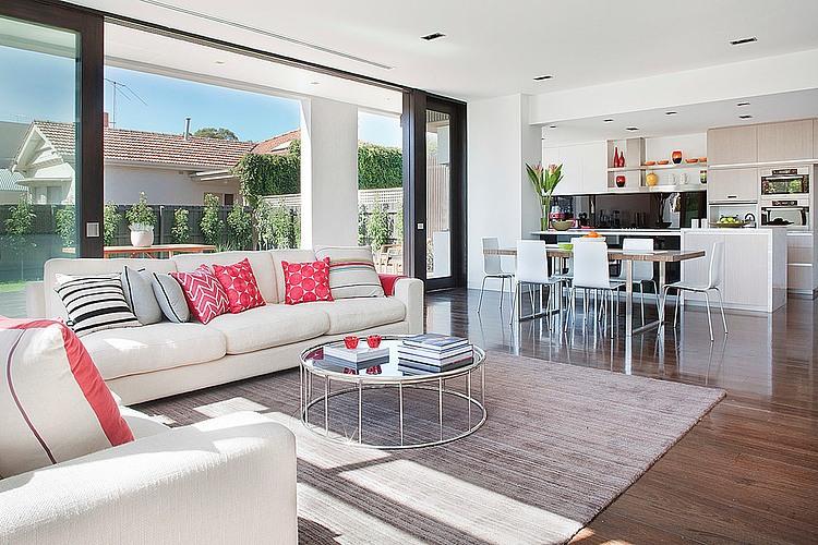 Dise o de casa moderna en esquina fachada e interiores for Diseno de interiores de salas y comedores pequenos