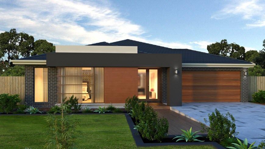 Dise o de casa de una planta con planos y fachadas for Modelos de casas de una sola planta