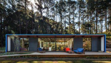 Photo of Diseño de casa pequeña moderna, fachada con modelo rectangular y techo metálico