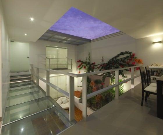 Jardín interior de casa de una planta