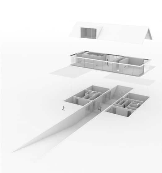 Maqueta de casa de un piso más sótano