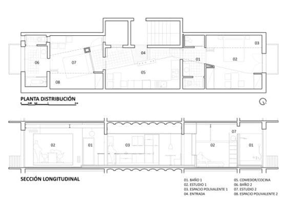 Plano de apartamento de dos habitaciones separadas