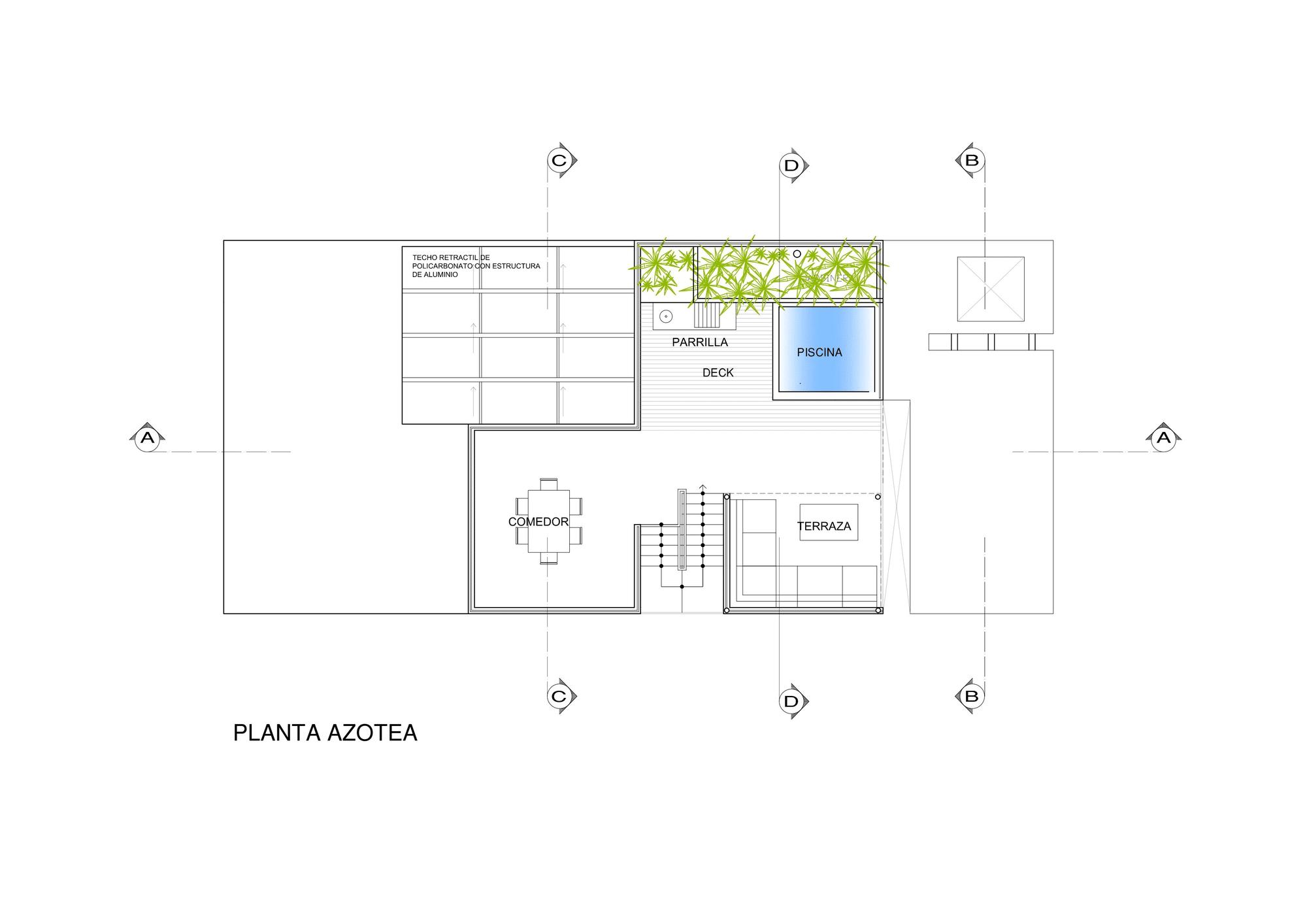 Dise o de casa de una planta con s tano y terraza piscina for Medidas de albercas para casas