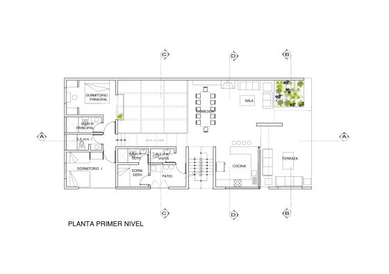 Plano de casa de una planta con sótano y terraza