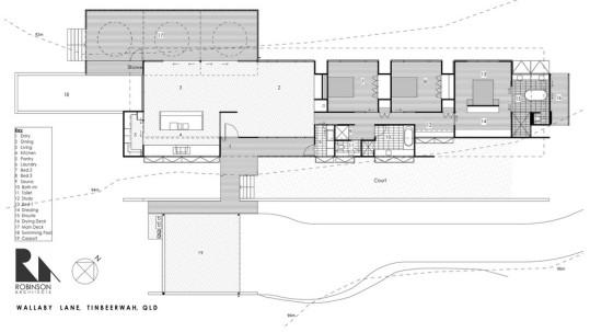 Plano de casa de una planta en forma alargada