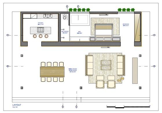 Plano de casa de una planta pequeña
