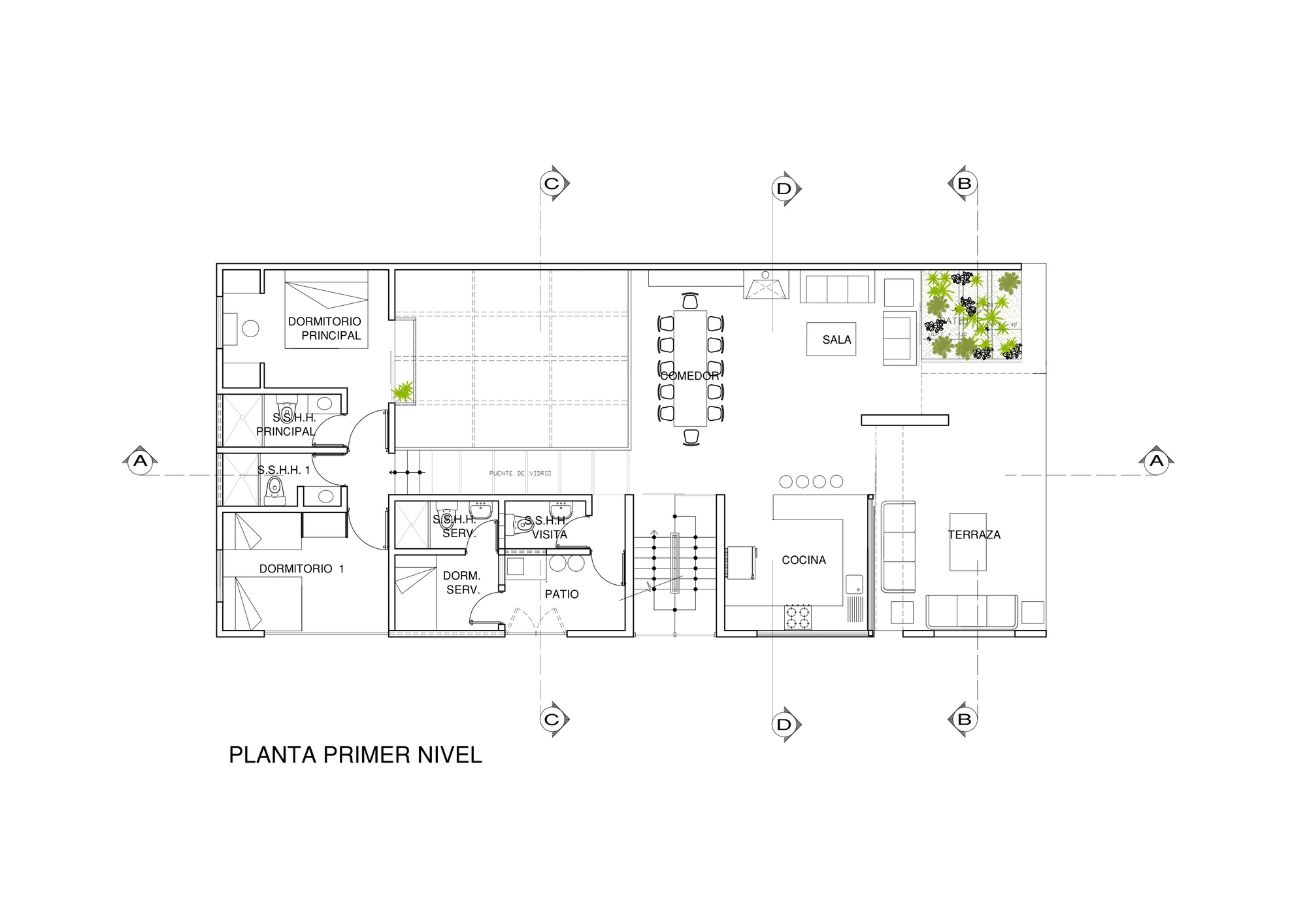 Dise o de casa de una planta con s tano y terraza piscina for Plano casa una planta