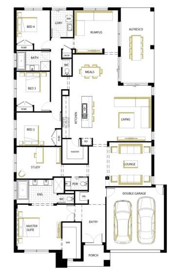 Plano de casa moderna de una planta