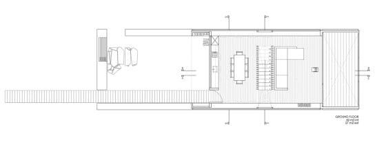 Plano de casa moderna en terreno largo y angosto