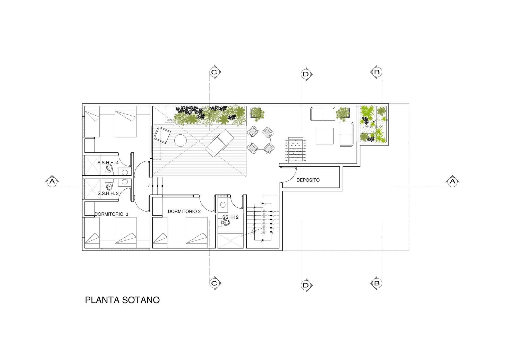 Dise o de casa de una planta con s tano y terraza piscina for Plano de un vivero forestal