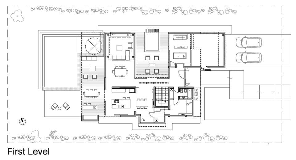 Planos de casa moderna de dos plantas fachada e interiores for Cocinas enteras