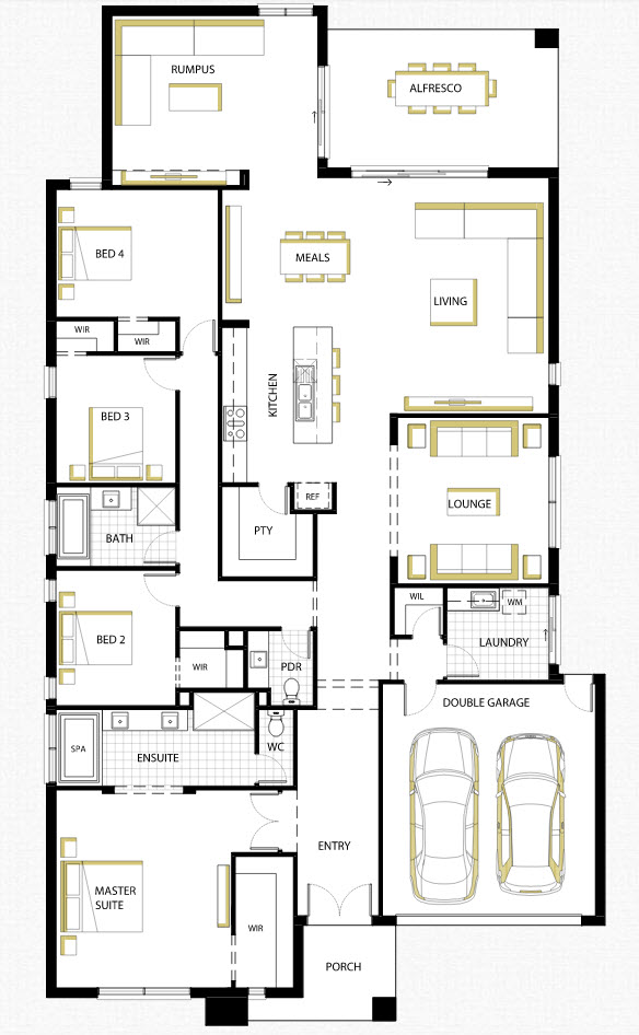Dise o de casa de una planta con planos y fachadas for Plantas de oficinas modernas