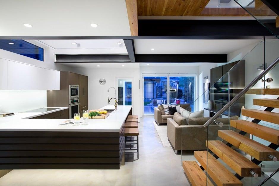 Fachada de casa moderna de dos pisos y diseño de interiores ...