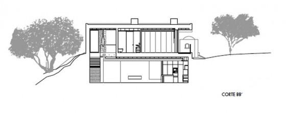 Corte BB de casa moderna de dos plantas