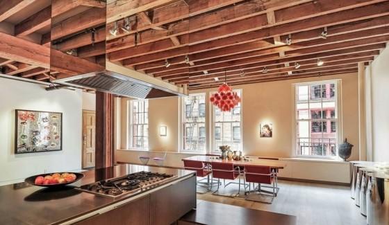 Diseño de cocina y comedor de apartamento en la ciudad