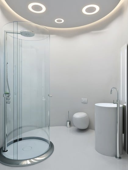Diseño de cuarto de baño moderno circular