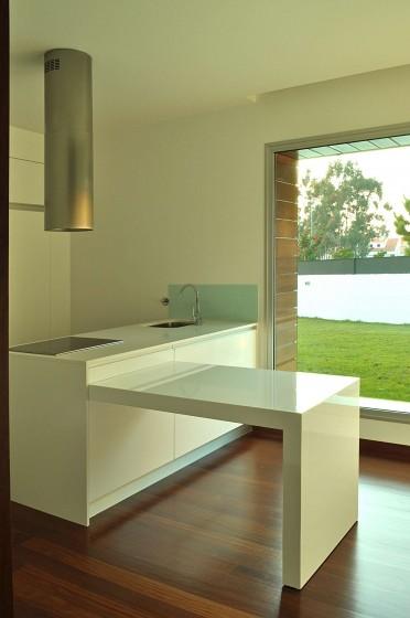 Diseño de moderna cocina de color blanco