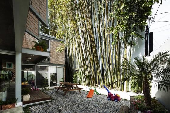 Diseño de patio con jardín de bambú