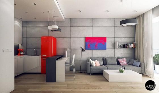 Diseño de pequeño apartamento con arte pop