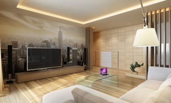 Diseño de sala moderna con pisos de madera