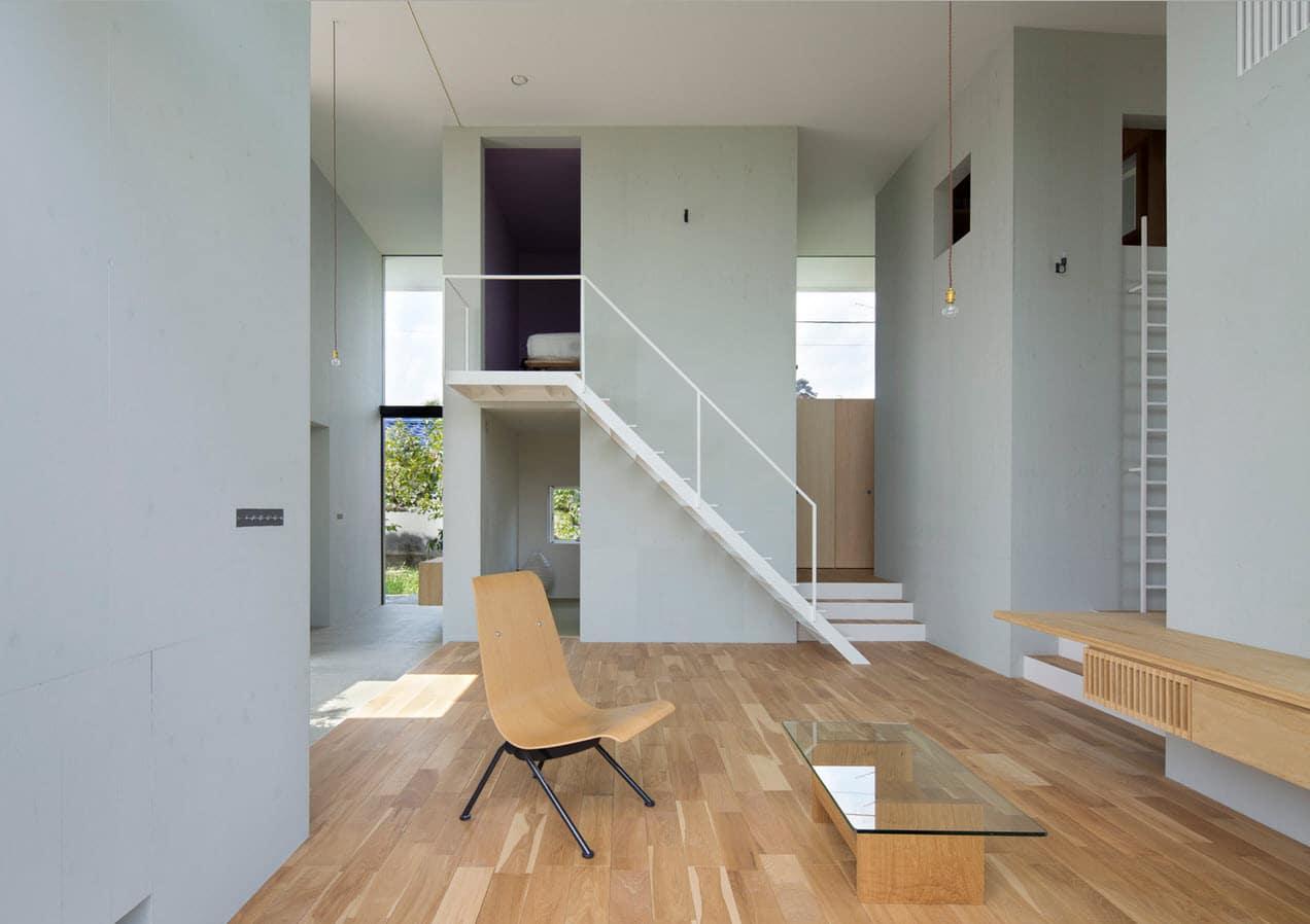 Dise o de casa estilo japon s con planos for Escaleras en salas